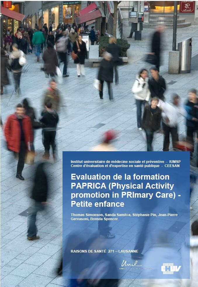 Evaluation de la formation PAPRICA (Physical Activity promotion in PRImary Care) - Petite enfance